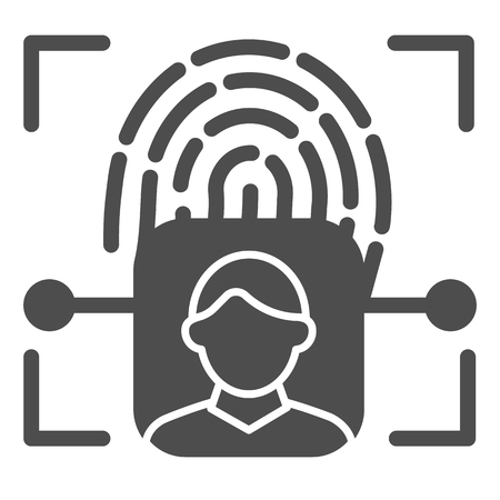 Fingerprint user recognition solid icon. Focus with fingerprint sensor vector illustration isolated on white. Person authentication glyph style design, designed for web and app.