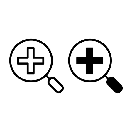 Zoom in line and glyph icon. Magnifier vector illustration isolated on white. Magnification outline style design, designed for web and app. Eps 10