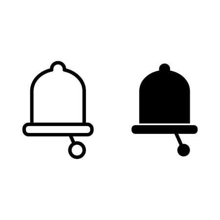 Bell line and glyph icon. Alarm vector illustration isolated on white. Alert outline style design, designed for web and app. Eps 10 Archivio Fotografico - 124899939