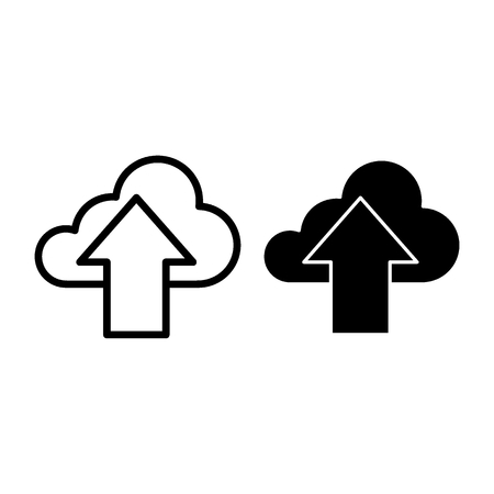 Download in cloud line and glyph icon. Cloud with arrow sign vector illustration isolated on white. Data outline style design, designed for web and app. Eps 10 Archivio Fotografico - 124899941