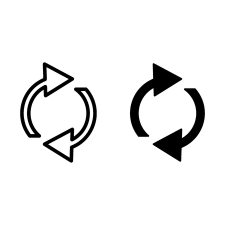 Refresh line and glyph icon. Rotation arrows vector illustration isolated on white. Recicle arrows outline style design, designed for web and app. Eps 10 Archivio Fotografico - 124899942