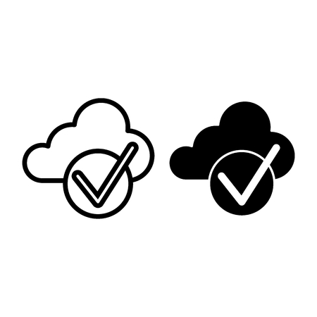 Cloud with check line and glyph icon. Cloud and tick vector illustration isolated on white. Download is done outline style design, designed for web and app. Eps 10 Illustration