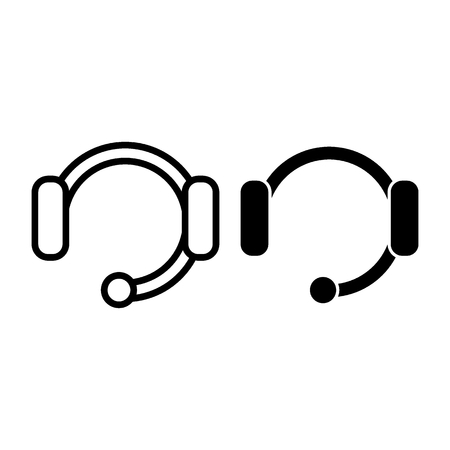 Headset with microphone line and glyph icon. Wireless headphone vector illustration isolated on white. Support outline style design, designed for web and app. Eps 10