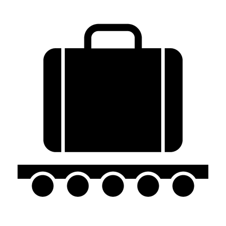 Luggage on a wheelbarrow solid icon. Cargo vector illustration isolated on white. Transportation glyph style design, designed for web and app. Eps 10 Standard-Bild - 124853487