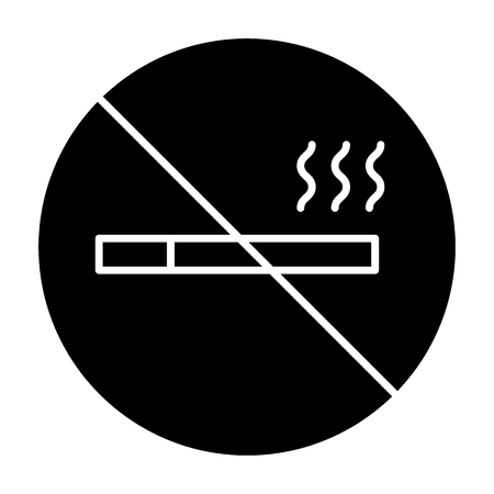 No smoking solid icon. Forbidden sign vector illustration isolated on white. Stop cigarette glyph style design, designed for web and app. Eps 10