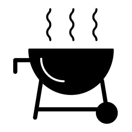 Outdoor grill solid icon. Barbecue vector illustration isolated on white. Cooking glyph style design, designed for web and app.