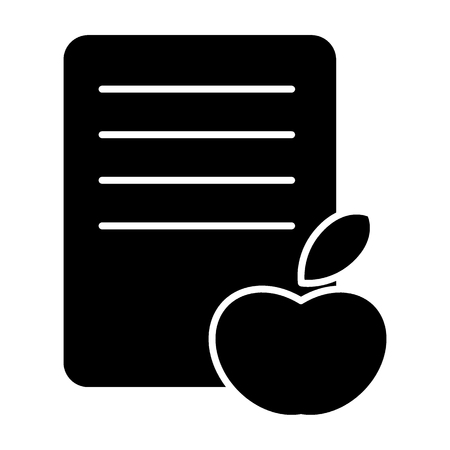 Apple and list solid icon. Fruit and list vector illustration isolated on white. Declaration of fruit transportation glyph style design, designed for web and app. Eps 10 Иллюстрация