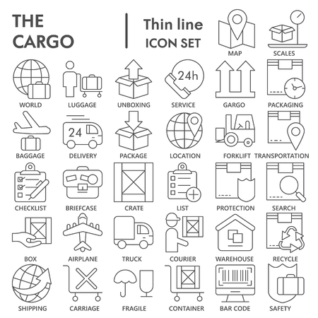 Cargo thin line SIGNED icon set, delivery symbols collection, vector sketches, logo illustrations, shipping signs linear pictograms package isolated on white background