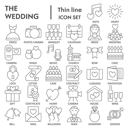 Wedding thin line SIGNED icon set, love symbols collection, vector sketches, logo illustrations, marriage signs linear pictograms package isolated on white background