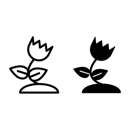 Tulip line and glyph icon. Floral vector illustration isolated on white. Spring flower outline style design, designed for web and app. Eps 10