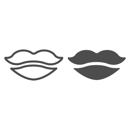 Lips line and glyph icon. Mouth vector illustration isolated on white. Girl lips outline style design, designed for web and app. 일러스트