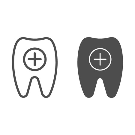 Tooth and plus line and glyph icon. Healthy tooth vector illustration isolated on white. Dental care outline style design, designed for web and app