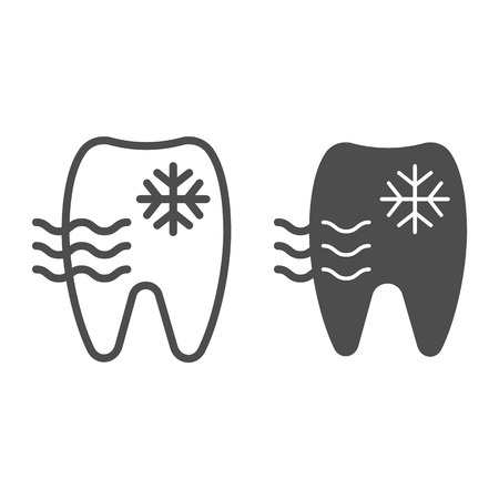 Sensitive tooth line and glyph icon. Tooth and snowflake vector illustration isolated on white. Dentist outline style design, designed for web and app. Vecteurs