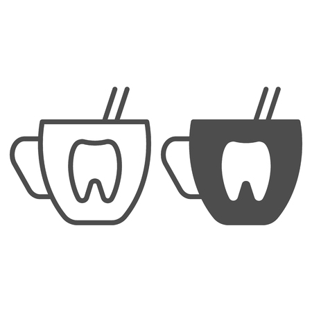 Mouth rinse cup line and glyph icon. Dentistry vector illustration isolated on white. Stomatology outline style design, designed for web and app.