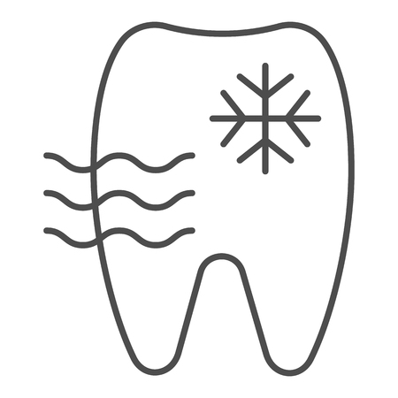 Sensitive tooth thin line icon. Tooth and snowflake vector illustration isolated on white. Dentist outline style design, designed for web and app. Vecteurs