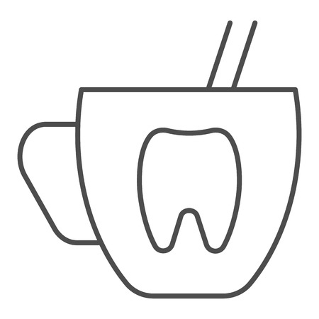Mouth rinse cup thin line icon. Dentistry vector illustration isolated on white. Stomatology outline style design, designed for web and app.