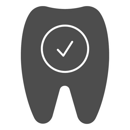 Tooth check solid icon. Healthy tooth vector illustration isolated on white. Dentistry glyph style design, designed for web and app.