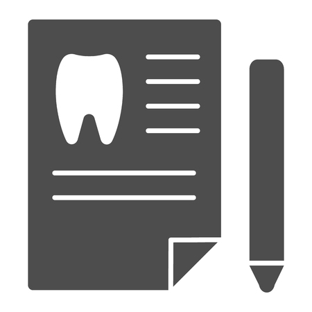 Dentist history solid icon. Medical paper vector illustration isolated on white. Dental history glyph style design, designed for web and app.
