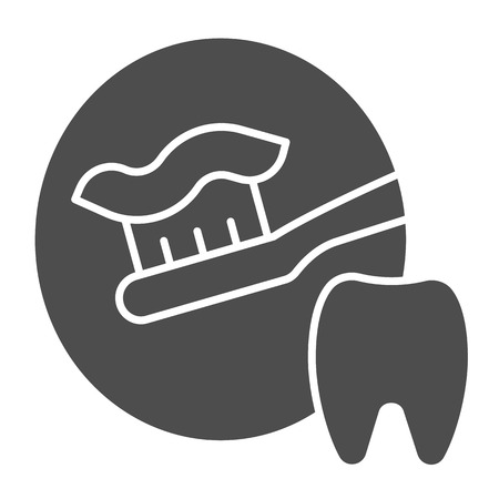 Toothbrush with toothpaste solid icon. Dental care vector illustration isolated on white. Tooth hygiene glyph style design, designed for web and app.