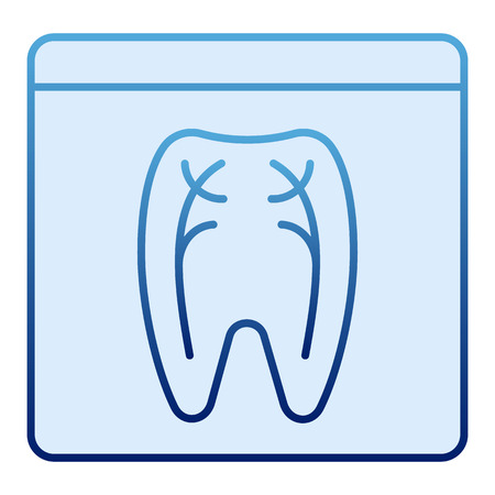 Icône plate de radiographie dentaire. Icônes bleues de rayon x de dent dans le modèle plat à la mode. Conception orthodontique de style dégradé roentgen, conçue pour le Web et l'application. Eps 10. Vecteurs