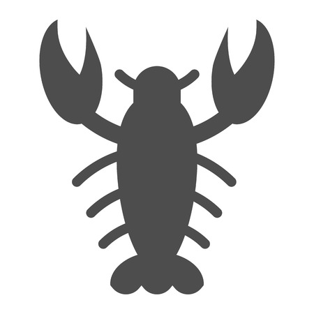 Crayfish solid icon. Crawfish vector illustration isolated on white. Seafood glyph style design, designed for web and app. Eps 10. Illustration