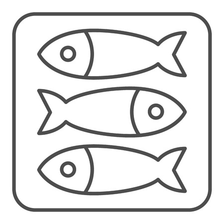 Sprat fish thin line icon. Food vector illustration isolated on white. Seafood outline style design, designed for web and app. Eps 10. Vettoriali
