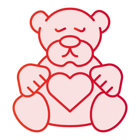Teddy bear flat icon. Plush toy pink icons in trendy flat style. Kid toy gradient style design, designed for web and app. Eps 10.