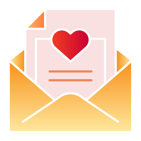 Romantic letter flat icon. Envelope with love letter color icons in trendy flat style. Mail with heart gradient style design, designed for web and app. Eps 10. Stock Illustratie