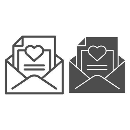 Envelope with love letter line and glyph icon. Romantic letter vector illustration isolated on white. Mail with heart outline style design, designed for web and app. Eps 10.