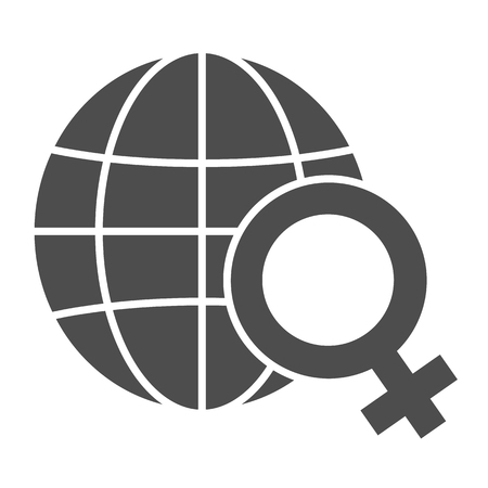 Womens day solid icon. Earth with gender sign vector illustration isolated on white. Planet with female symbol glyph style design, designed for web and app. Eps 10.