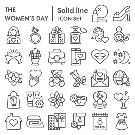Conjunto de iconos de línea de día de la mujer, colección de símbolos de vacaciones de mujer internacional, dibujos vectoriales, ilustraciones de logotipos, paquete de pictogramas lineales de signos de 8 de marzo aislado sobre fondo blanco, eps 10.