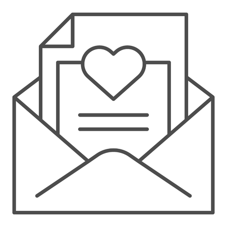 Envelope with love letter thin line icon. Romantic letter vector illustration isolated on white. Mail with heart outline style design, designed for web and app. Eps 10.