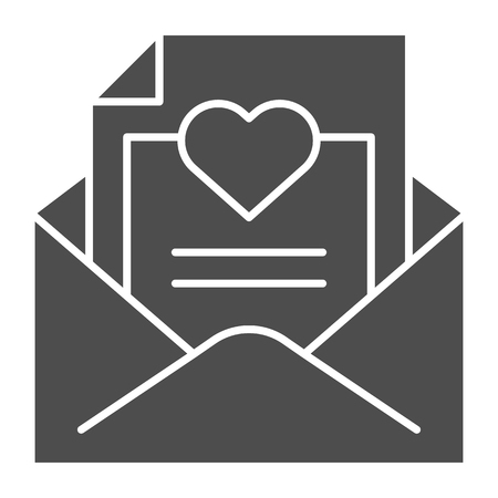 Envelope with love letter solid icon. Romantic letter vector illustration isolated on white. Mail with heart glyph style design, designed for web and app. Eps 10. Stock Illustratie