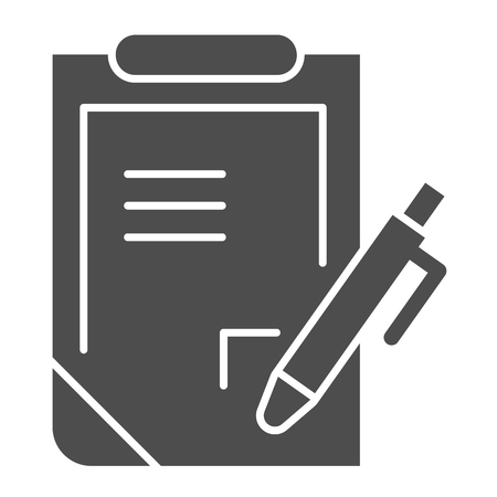 Pen and clipboard solid icon. Document with pen vector illustration isolated on white. Report glyph style design, designed for web and app. Eps 10.