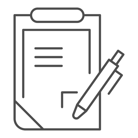 Pen and clipboard thin line icon. Document with pen vector illustration isolated on white. Report outline style design, designed for web and app. Eps 10.