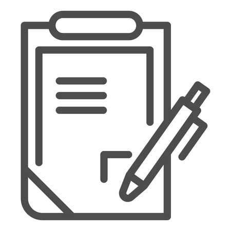 Pen and clipboard line icon. Document with pen vector illustration isolated on white. Report outline style design, designed for web and app. Eps 10. Illustration
