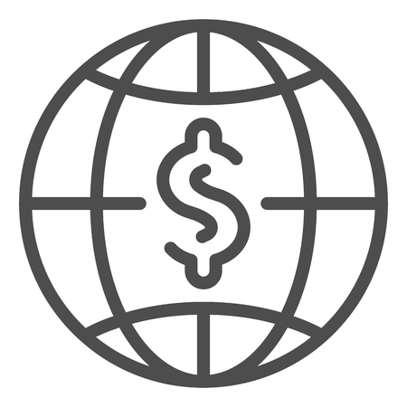 Dollar with globe line icon. World money vector illustration isolated on white. Global budget outline style design, designed for web and app. Eps 10.
