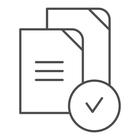 Paper approved thin line icon. Verified documents vector illustration isolated on white. Checkmark on files outline style design, designed for web and app. Eps 10.