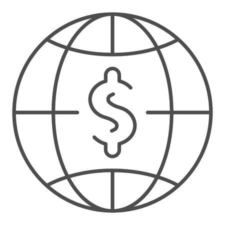 Dollar with globe thin line icon. World money vector illustration isolated on white. Global budget outline style design, designed for web and app. Eps 10. Illustration