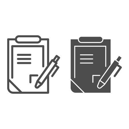 Pen and clipboard line and glyph icon. Document with pen vector illustration isolated on white. Report outline style design, designed for web and app. Eps 10. Illustration