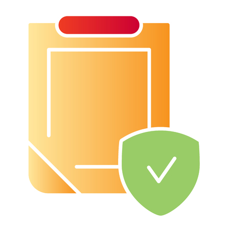 Safety document flat icon. Clipboard with shield color icons in trendy flat style. Insurance policy gradient style design, designed for web and app. Eps 10. Ilustração
