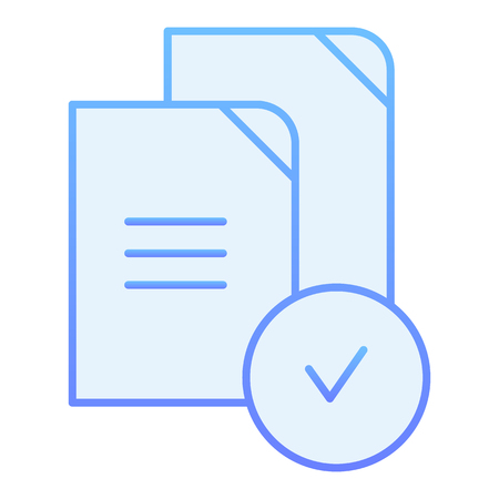 Checkmark on files flat icon. Paper approved blue icons in trendy flat style. Verified documents gradient style design, designed for web and app. Eps 10. Ilustração