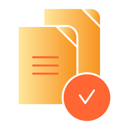 Checkmark on files flat icon. Paper approved color icons in trendy flat style. Verified documents gradient style design, designed for web and app. Eps 10. Ilustração