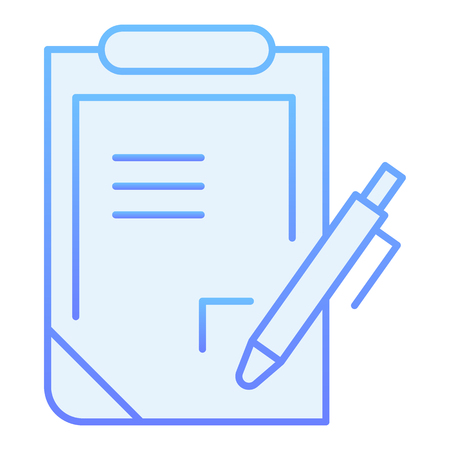 Report flat icon. Pen and clipboard blue icons in trendy flat style. Document with pen gradient style design, designed for web and app. Eps 10.