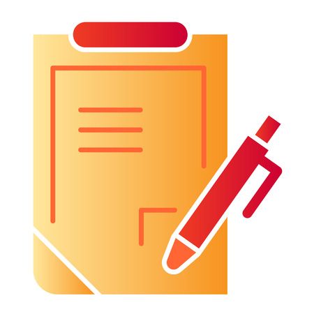 Report flat icon. Pen and clipboard color icons in trendy flat style. Document with pen gradient style design, designed for web and app. Eps 10.