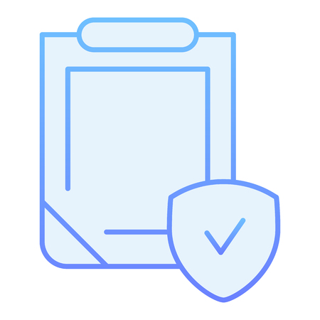Safety document flat icon. Clipboard with shield blue icons in trendy flat style. Insurance policy gradient style design, designed for web and app. Eps 10. Ilustração