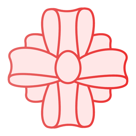 Inclinez-vous sur une icône plate présente. Icônes roses de décoration de cadeau dans un style plat tendance. Conception de style dégradé de nœud de ruban, conçue pour le Web et les applications. Eps 10.