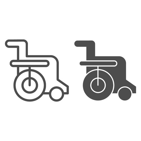 Disabled chair line and glyph icon. Wheelchair vector illustration isolated on white. Handicapped outline style design, designed for web and app. Eps 10.