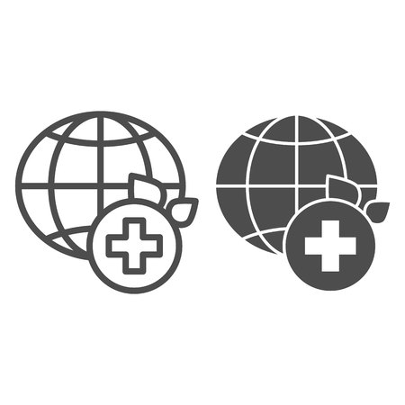 World medicine line and glyph icon. Global healthcare vector illustration isolated on white. World medical community outline style design, designed for web and app. Eps 10. Illustration