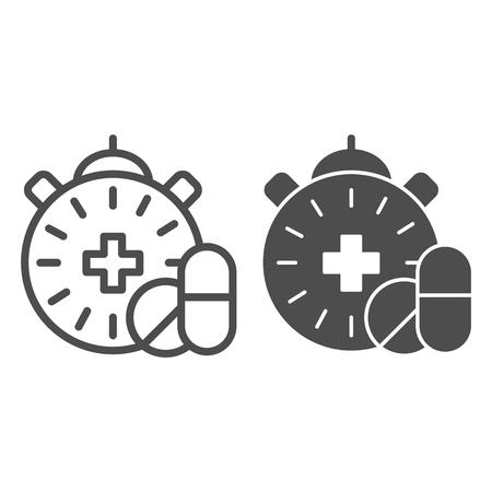 Medicatie tijdlijn en glyph icoon. Pillen en klok vectorillustratie geïsoleerd op wit. Ontwerp van de stijl van een apotheektijd, ontworpen voor web en app. Eps 10. Vector Illustratie
